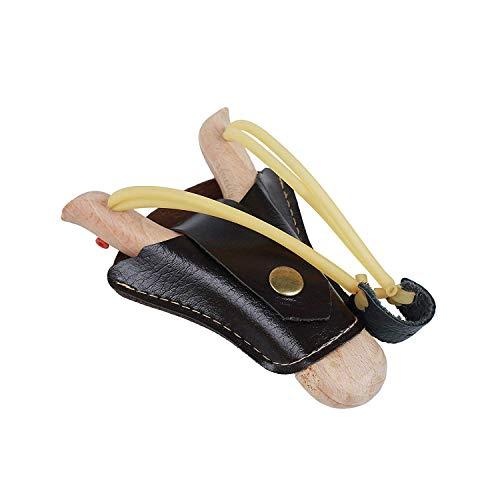 Steinschleuder aus Holz mit Leder-Tasche zum befestigen an der Gürtelschnalle - Holz-Zwille + Erbsen-Munition Kugeln - Schleuder Kinder & Erwachsene - Outdoor-Zwille im Handarbeits-Look (Einzel)